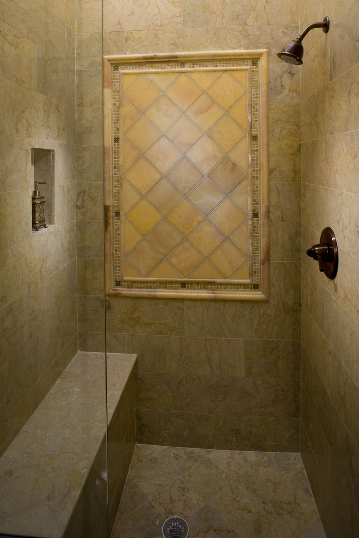 Sahara gold honed marble shower surround and floor with brushed onxy decorative wall panel for Decorative bathroom wall tile