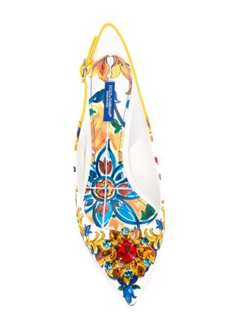 Shop Dolce & Gabbana embellished Majolica pumps in Tiziana Fausti from the…
