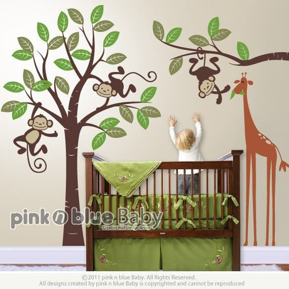 Nursery Wall Decal   Monkeys and giraffe  Kids by pinknbluebaby
