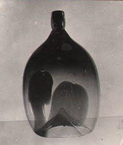 Lubomir Blecha, the glass vase object with heavy heart, glasswork Skrdlovice, 1960, H: 35,0 cm