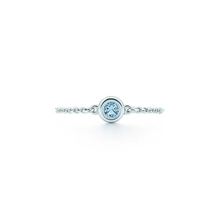 Elsa Peretti® Color by the Yard ring in sterling silver with an aquamarine. | Tiffany & Co.