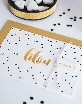 Geboortekaart zwart/wit met gouden accenten (c)Alsjeblief.be