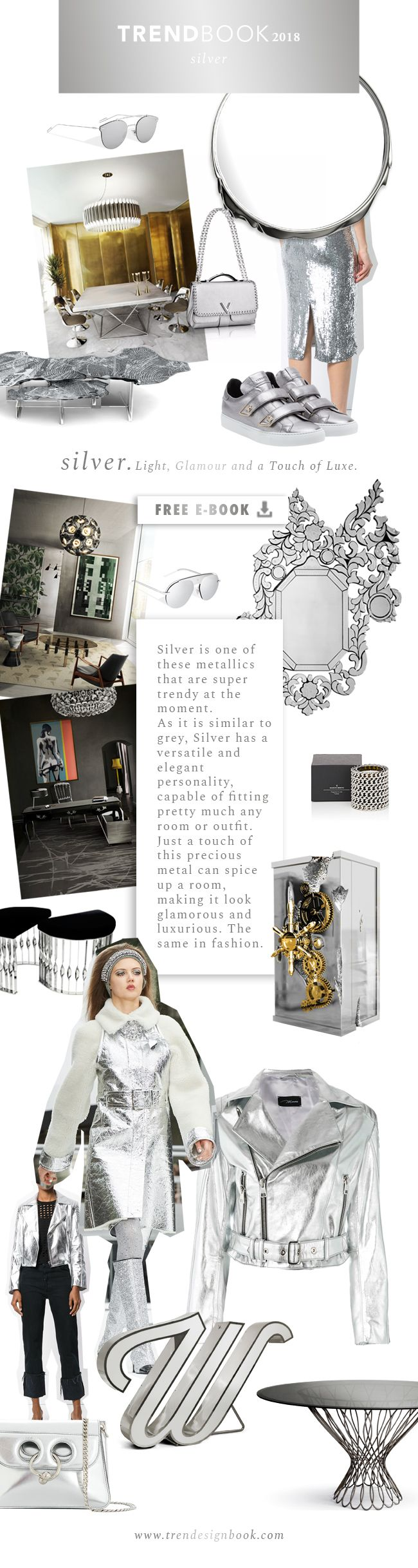 Trends 2018 / 2019 . Material Trends Silver and Metallics . Moodboard