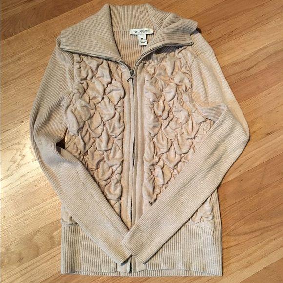 Tan Beige zip up sweater jacket WHBM beige zip up sweater. Ruffling detail on the front. White House Black Market Jackets & Coats
