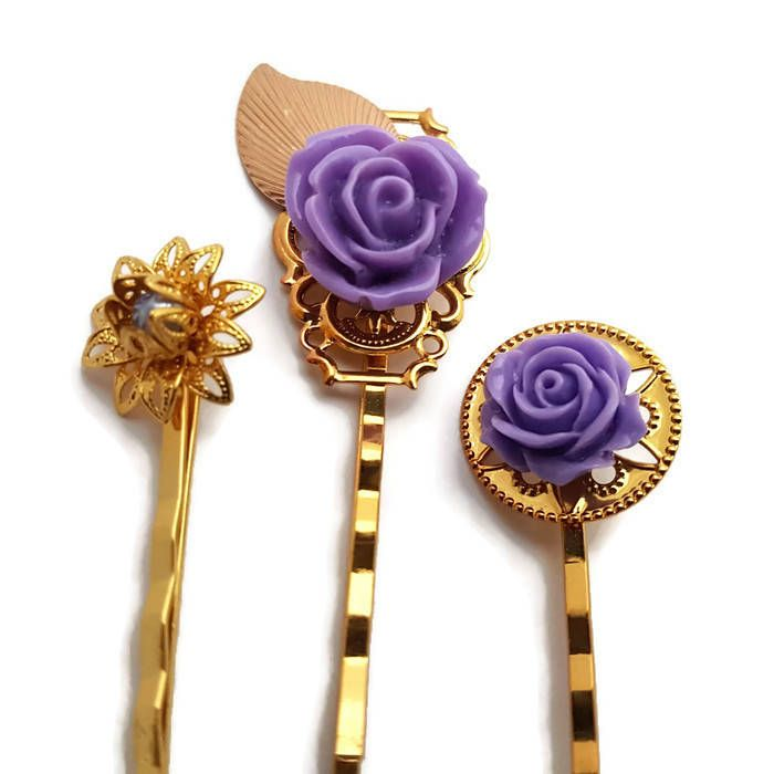 Purple Flower Pins-Gold Bobby Pin-Wedding Hair Pins-Bridal Bobby Pins-Pearl Bobby Pins-Wedding Hair Slides-Gold Clips-Bridesmaid Gift