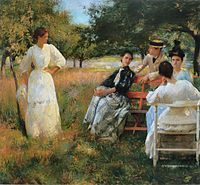 Edmund C. Tarbell, In the Orchard, 1891, Smithsonian American Art Museum, Washington, DC.-Impressionism