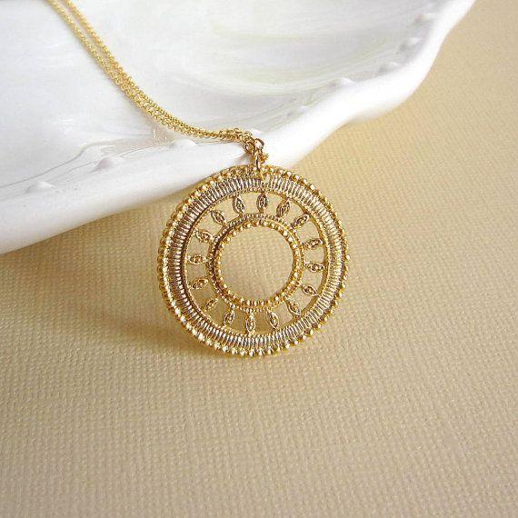 Sun medallion necklace . filigree pendant gold by peppermintfix, $25.00