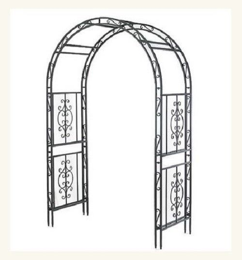 Garden Arbor Iron Archway Dark Bronze Wedding Door Arch Lawns Yard Patio Trellis #PH