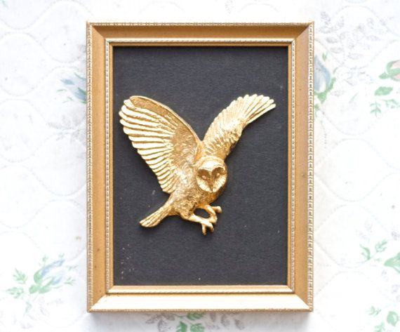 flying owl wall hanging frame brass bird figure in golden frame small picture frames