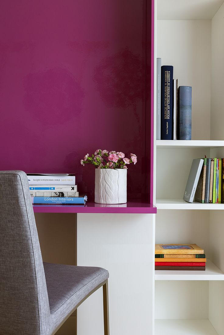Colourful modern library, pink library, dark pink library