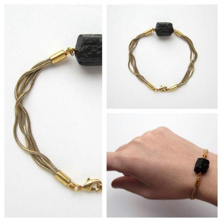 Multi strand snake chain and black tourmaline bracelet