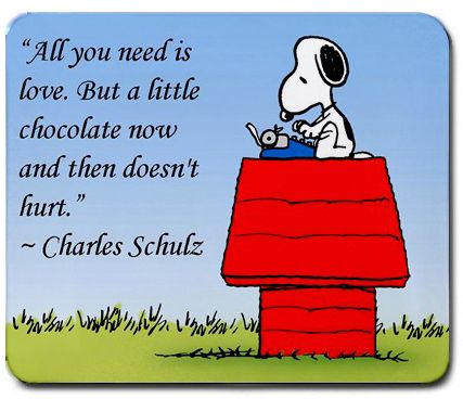 Peanuts Quotes 2 - Snoopy And The Gang! True!!! and chocolate alway's helps :)
