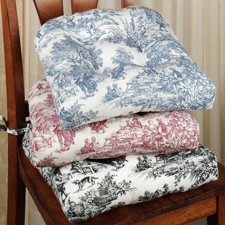 Delighful Kitchen Chair Cushions Blue Chair Cushion Toile Kitchen Cushions  Blue And Design
