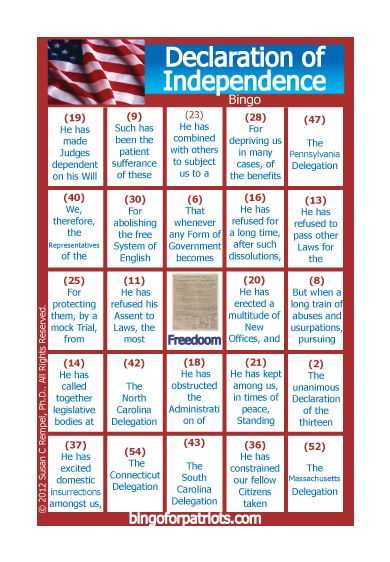Declaration of Independence Bingo! Download this for only $1.76!