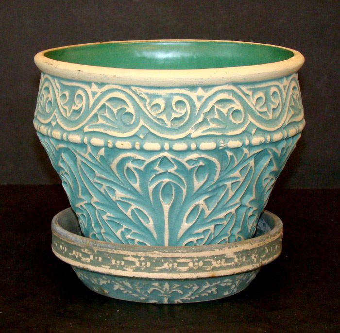 Antique Vintage Red Wing Brushware Pottery Arts Crafts Stoneware Jardiniere Pot Crafts Arts
