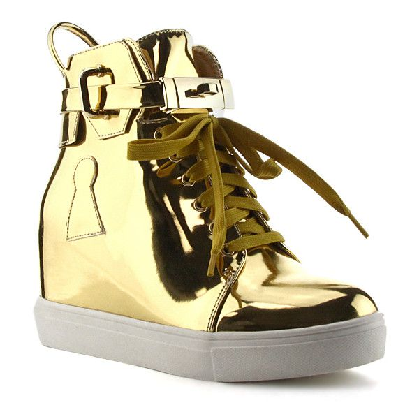 Cape Robbin Collection Gold Patent Fair Wedge Hi-Top Sneaker ($30) ❤ liked on Polyvore featuring shoes, sneakers, gold wedges shoes, gold platform sneakers, high top platform sneakers, studded lace-up wedge sneakers and high heel sneakers