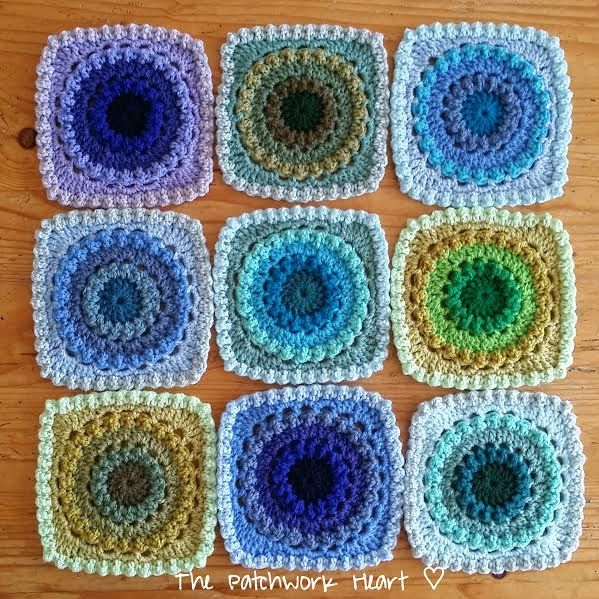 The Peacock Blanket   was designed as an exercise in ombre crochet   to provide opportunity for playing with colours   and to showcas...