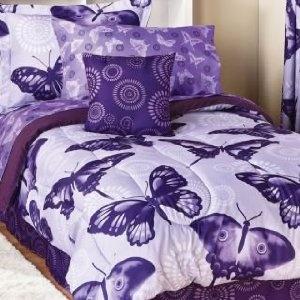 Flutter Kids Girl Twin Comforter Set + Sheets Set Purple Butterfly bedding