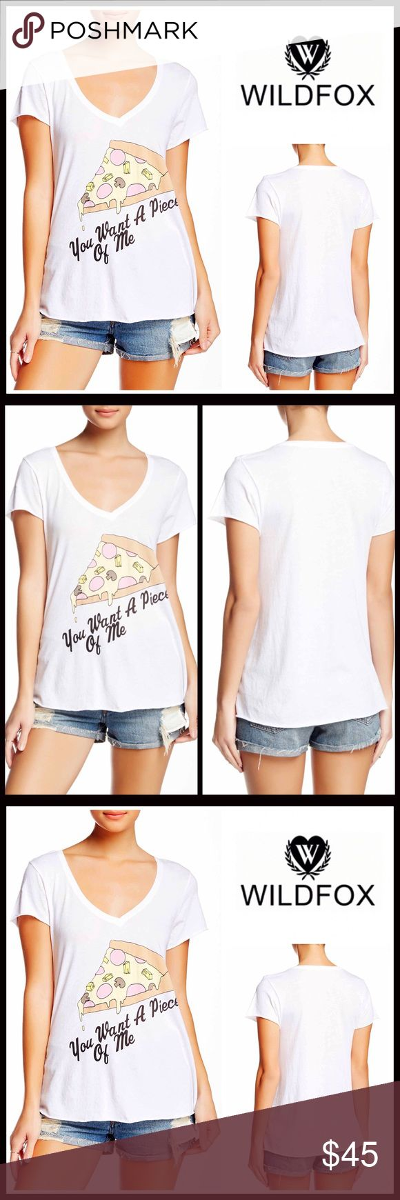 "⭐️⭐️ WILDFOX V-Neck Tee You Want A Piece of Me 💟NEW WITH TAGS💟 RETAIL PRICE: $65  WILDFOX V-Neck Tee You Want A Piece of Me  * Relaxed Silhouette  * V-neck & short sleeves  * Incredibly soft & lightweight; Front pizza graphic print    * Made in the USA  * About 25"" long   Fabric- 50% Cotton, 50% polyester  Item# Color- Clean white  🚫No Trades🚫 ✅Offers Considered*/Bundle Discounts✅ *Please use the blue 'offer' button to submit an offer. Wildfox Tops Tees - Short Sleeve"