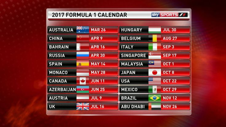 F1 2017 calendar and schedule, driver line-ups and test dates | F1 News