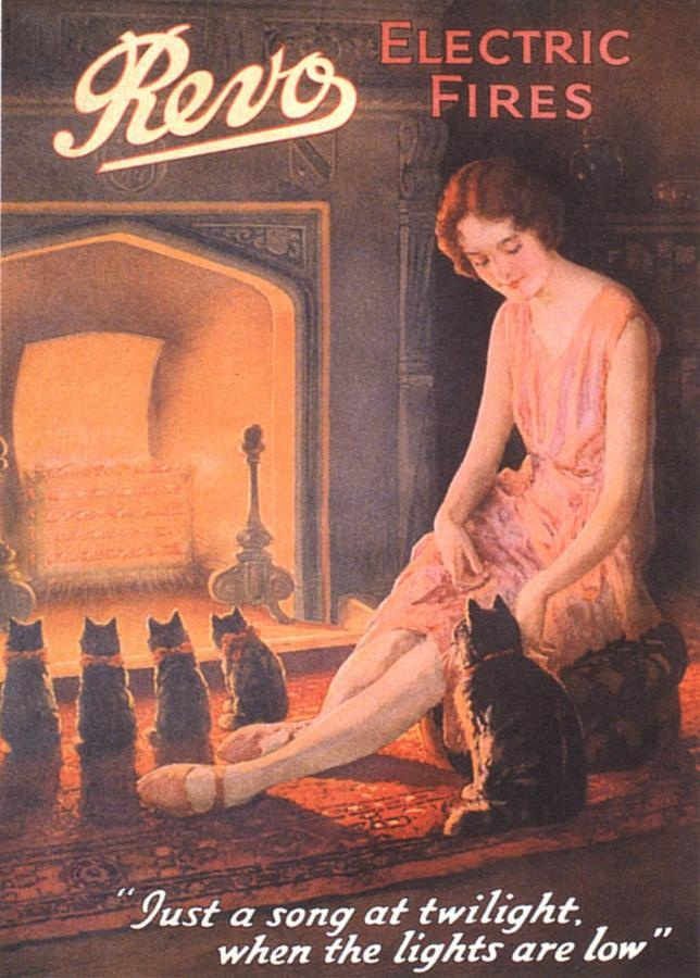 REVO Electric Fire vintage advertising poster (1920s)