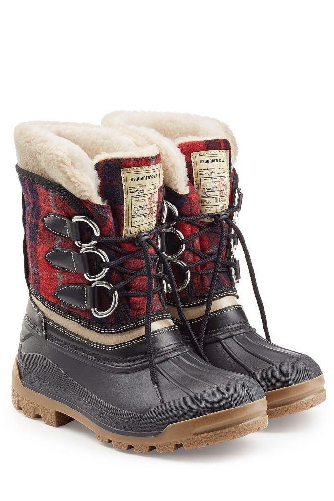 #Dsquared2 #Gefütterte #Winterboots aus #Leder, #Wolle und #Gummi #, #Multicolor für #Herren Trotzen Minustemperaturen und nasskaltem Wetter  >  die warm gefütterten Outdoor > Boots aus karierter Wolle, Leder und Gummi von Dsquared2  >  Schwarzes Gummi und Leder, rot karierte Wolle, Futter in Fell > Optik, Schnürsenkel, runde Zehenspitze  >  Gefütterte Innensohle, Gummilaufsohle  >  Stylen wir zu gekrempelten Jeans und einem Parka