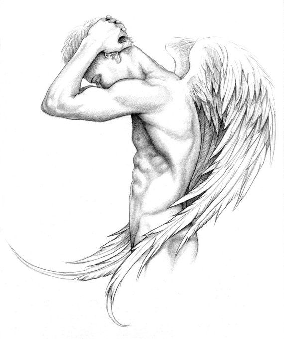 Limited edition print of nude male angel by AngelBlueArt on Etsy, $30.00                                                                                                                                                                                 More