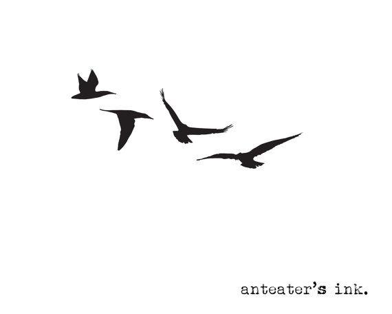 Vol d'oiseaux tatouage temporaire par AnteatersInk sur Etsy