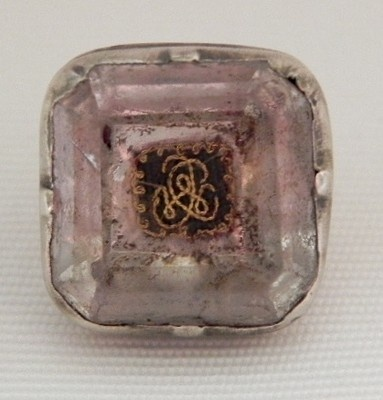 Pre Georgian Antique Stuart Rock Crystal Gold Thread Cypher Silver Button 1690's