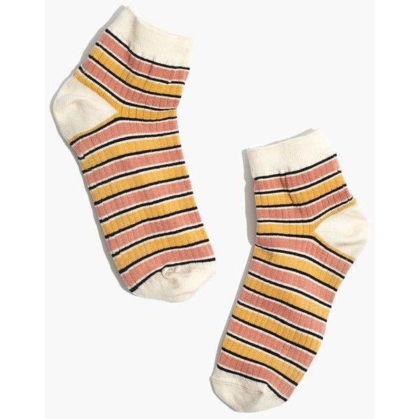 MADEWELL Striped Ankle Socks ($11) ❤ liked on Polyvore featuring intimates, hosiery, socks, antique cream multi, short socks, tennis socks, stripe socks, cream socks and striped ankle socks