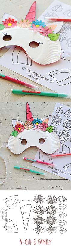 Masque de carnaval DIY imprimable /printable #licorne #carnaval #diy #enfant #activite #découpe #deguisement #idéesdéco #dessin #coloriage