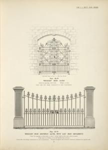 Wrought iron gates. [Plate 326-N] ; Wrought iron driveway gates, with cast iron ornaments. [Plate 327-N].