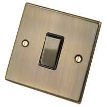 1 Gang 2 Way 10A Switch with Metal Rockers Black Insert Antique Brass