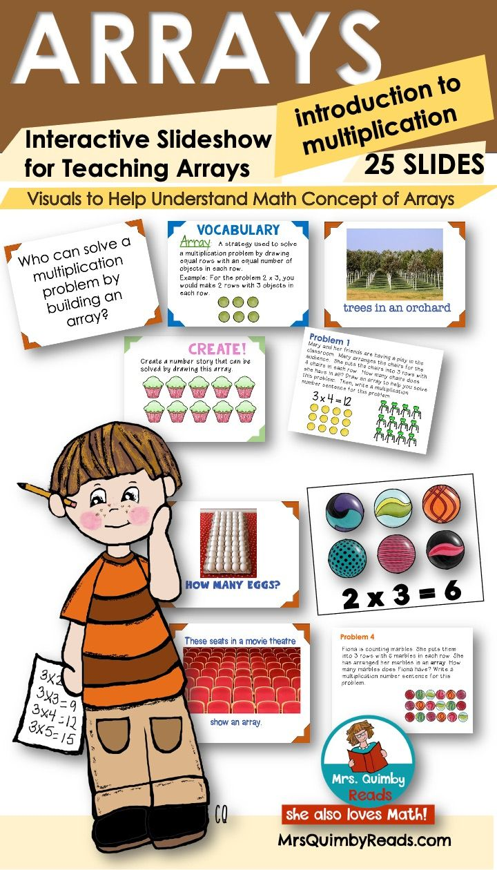 Arrays Slideshow Introduction To Multiplication Interactive Math Activity In 2020 Math Activities Kindergarten Math Lesson Teaching Resources