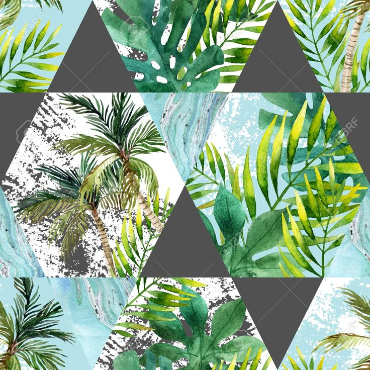 Watercolor tropical leaves and palm trees in geometric