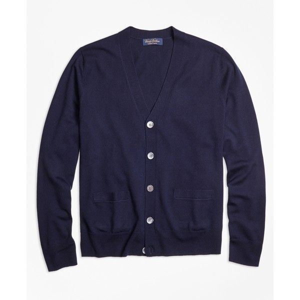 Brooks Brothers Saxxon Wool Cardigan ($89) ❤ liked on Polyvore featuring men's fashion, men's clothing, men's sweaters, navy, mens woolen sweaters, mens button down cardigan sweaters, mens vneck sweater, mens v neck sweater and old navy mens sweaters