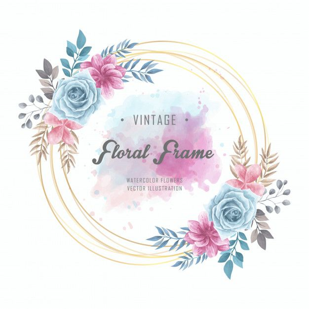 Watercolor Floral Flowers Circle Frame Golden Vintage Flower Frame Floral Watercolor Flower Illustration