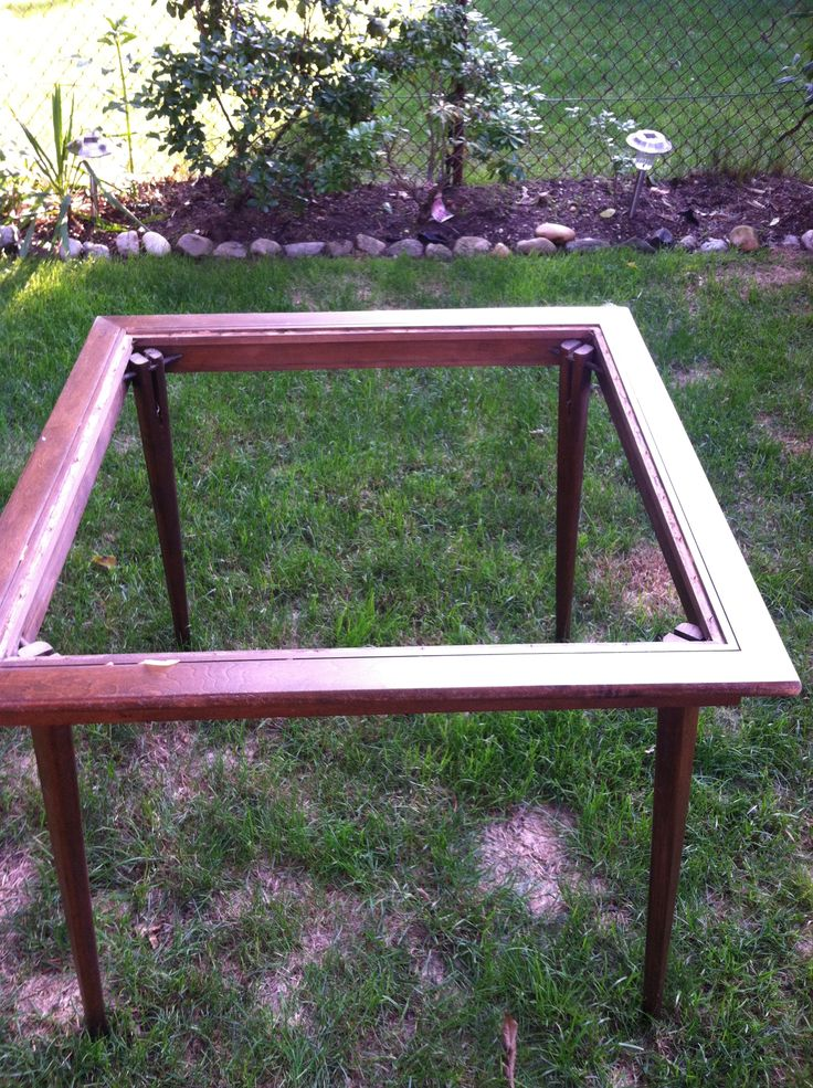 In the beginning, I took the center out of the card table, it wasn't sturdy enough to hold the glass.