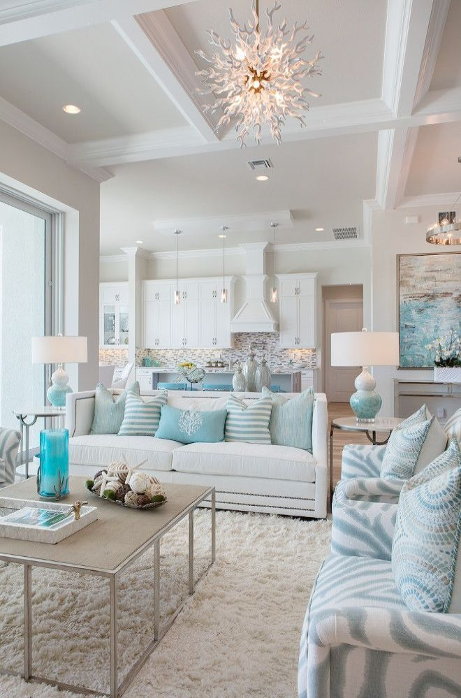 Florida Beach House With Turquoise Interiors Good Living Room