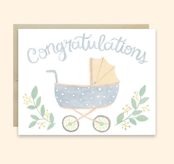 Baby Congratulations Card Baby Pram Card Congratulations Baby Card Cute Baby Stroller Card Gender Neutral Baby Card Cute Congrats Card Baby Congratulations Card Baby Greeting Cards Baby Shower Thank You Cards