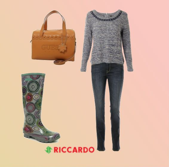 #Wellies for rainy day, warm #cardigan to stay comfy and big #bag to carry all your things. Stressed, depressed but well dressed!  #Riccardo