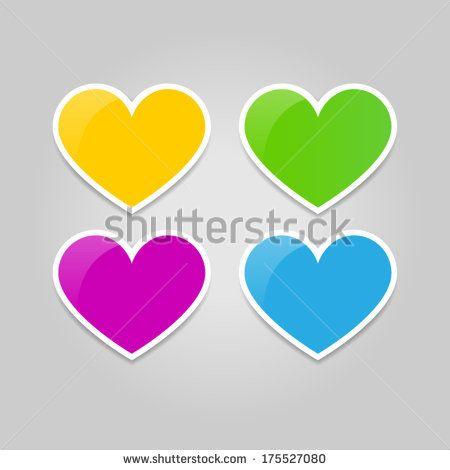 Set of colorful vector heart stickers   http://www.shutterstock.com/g/ajinak