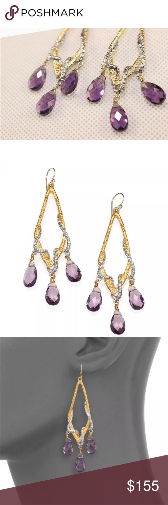 """🔥SALE Alexis Bittar Amethyst Vine Drop Earrings New! Alexis Bittar Amethyst Vine Drop Earrings • Gold & Silver Tone Metal Earrings with pave Swarovski crystals & dangling Hydro Quartz Amethyst gems. Drop about 2"""" long. French hook closure. Brand new without tags. Alexis Bittar Jewelry Earrings"""