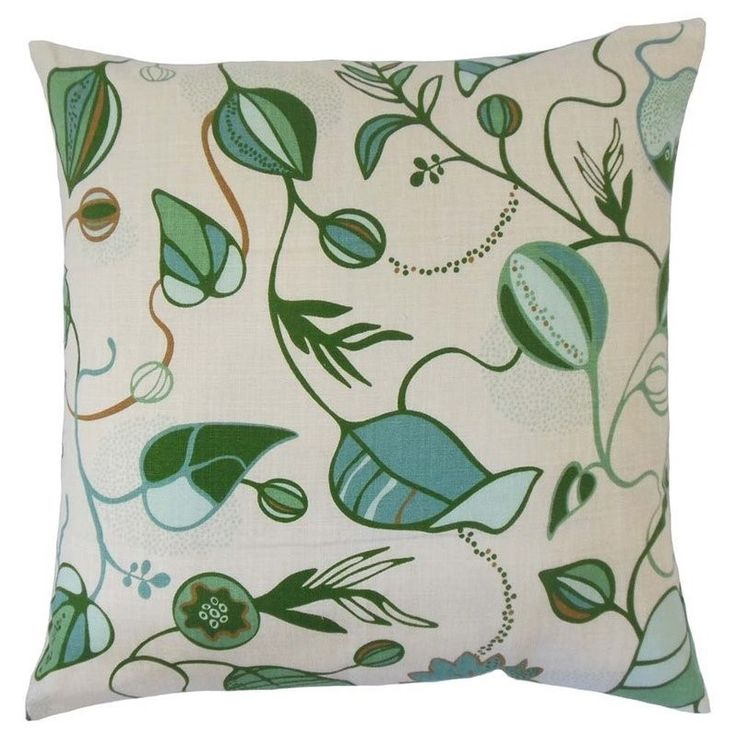 """The Pillow Collection 20"""" Square Qiana Floral Throw Pillow - P20-ROB-MAGNUS-MINERALGREEN-C100"""