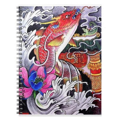 Cool japanese dragon koi fish tattoo note book for Japanese koi dragon