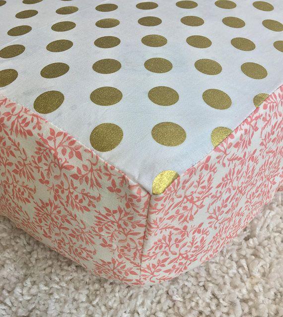 Gold Dot Crib Sheet Coral Floral Crib Sheet Fitted Crib
