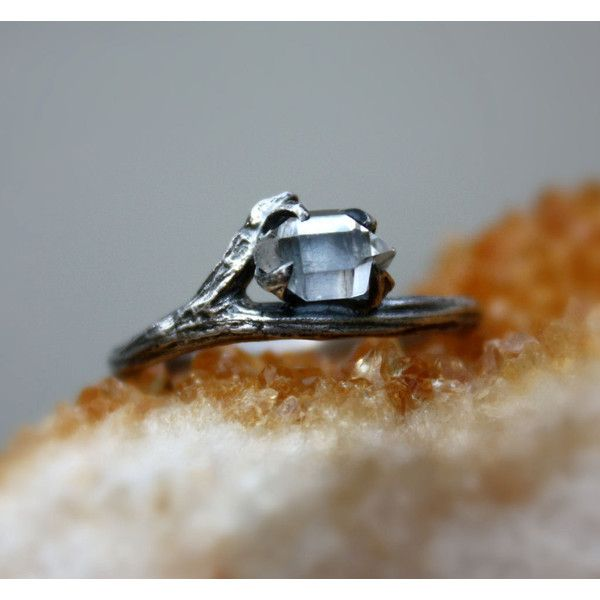 Herkimer diamond gemstone ring,raw crystal quartz,engagement... ($67) ❤ liked on Polyvore featuring jewelry, rings, birthstone engagement rings, engagement rings, gemstone engagement rings, gem stone rings and stone rings