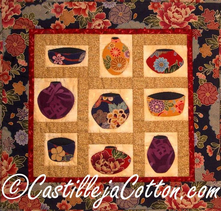 Asian Painted Pots ... by DianeMcGregor   Quilting Pattern - Looking for a quilting pattern for your next project? Look no further than Asian Painted Pots quilt epattern 4262-5 from DianeMcGregor! - via @Craftsy