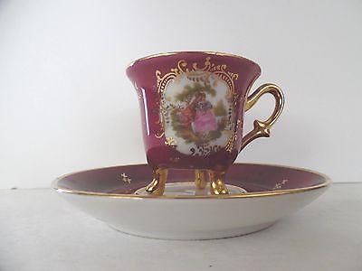 Limoges France Burgundy & Gold Porcelain Demitasse Cup Saucer Victorian Couple