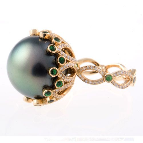 Erica Courtney:18k gold and diamond Eve ring with South Sea pearl and tsavorite details
